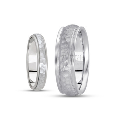 His and her diamond carved wedding bands
