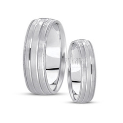 His and her basic basic carved simple wedding ring