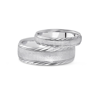 PLAT Wedding Band Sets, His and Hers Wedding Bands, Matching
