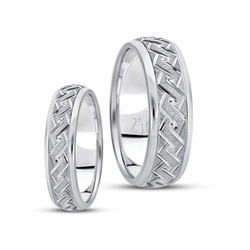 His And Her Fancy Carved Diamond Cut Wedding Band