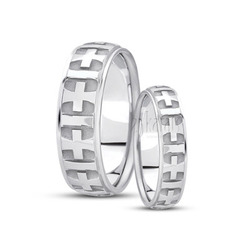 His and her basic carved religious wedding ring