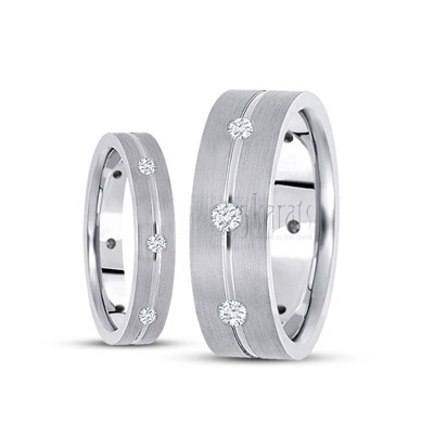 His And Her Diamond Clic Round Cut Wedding Band