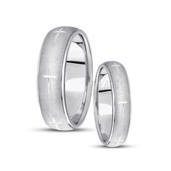 His and her basic carved religious wedding band