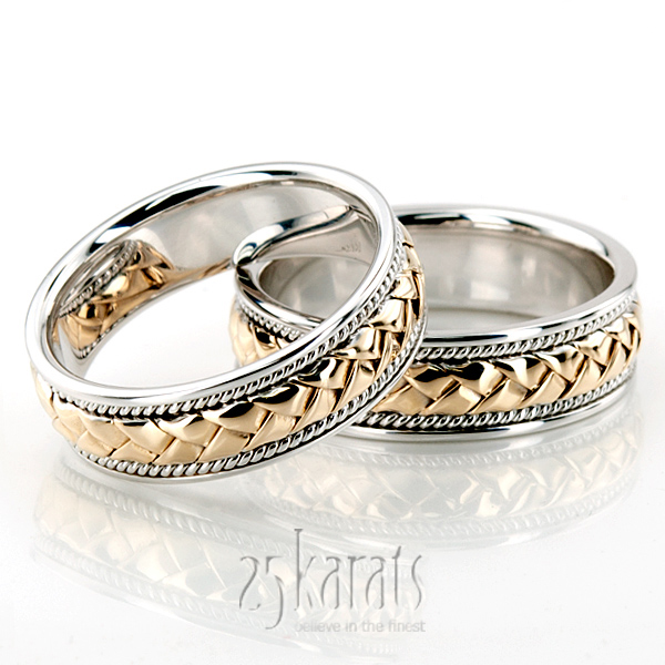 HHHC100104 14K Gold Braided TwoTone Handmade Wedding Ring Set