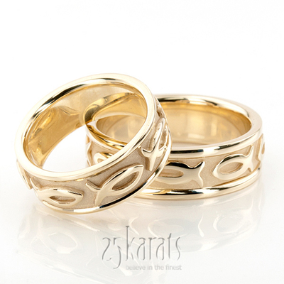 Wedding band sets his and hers wedding bands matching for Fishing wedding ring