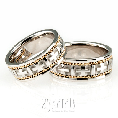 christian wedding rings sets hh hc100140 14k gold braided handcrafted christian wedding 2924