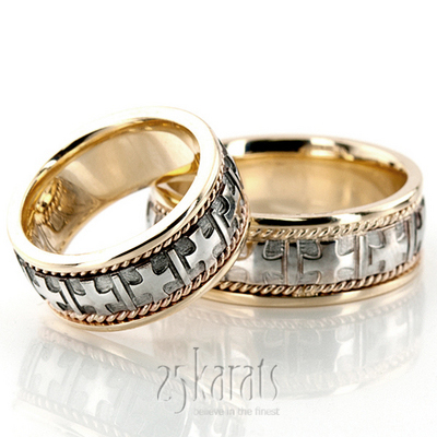 christian wedding rings sets hh hm036 14k gold two tone cross religious wedding band set 2924