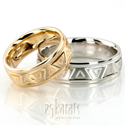 Greek Key Wedding Band Sets His And Hers Bands Matching