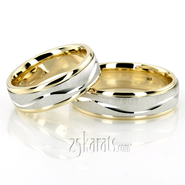 Elegant Wave Design Wedding Ring Set
