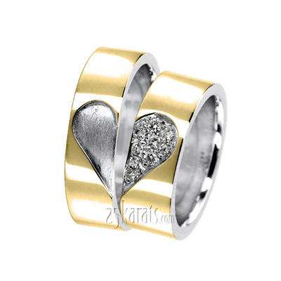 Matching Heart Diamond Wedding Band Set