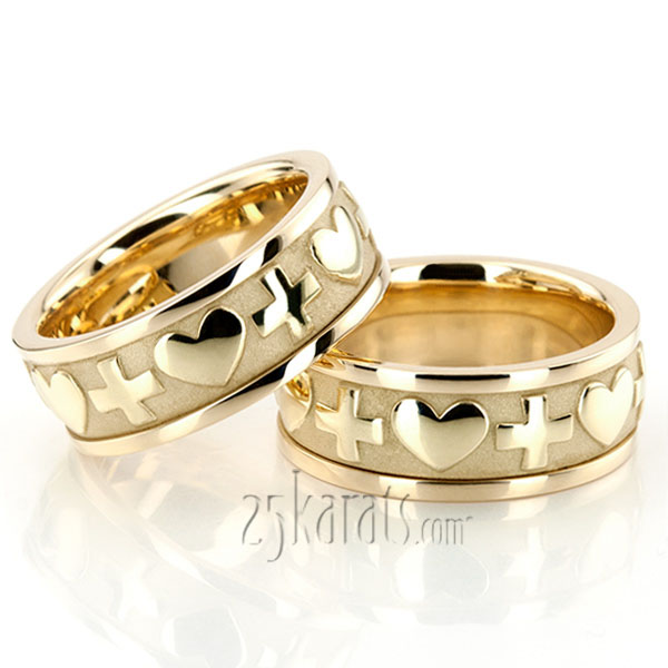 christian wedding rings sets hh hc100258 14k gold cross amp christian wedding ring set 2924