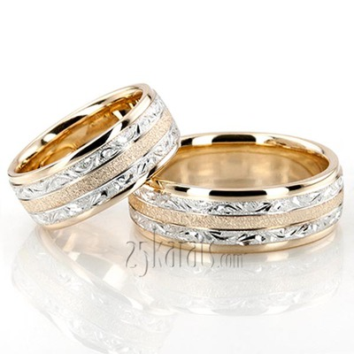 Exclusive Fl Design Wedding Band Set