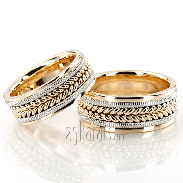 HH HC100112 14K Gold Attractive Beaded Hand Woven Wedding Band Set