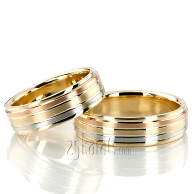 tri qrtr rings braided wedding three color band gold
