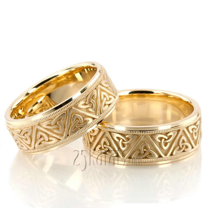 14k Yellow Gold High Polished 2mm Traditional Milgrain: HH-HC100321 14K Gold Celtic Triquetra Handcrafted Wedding