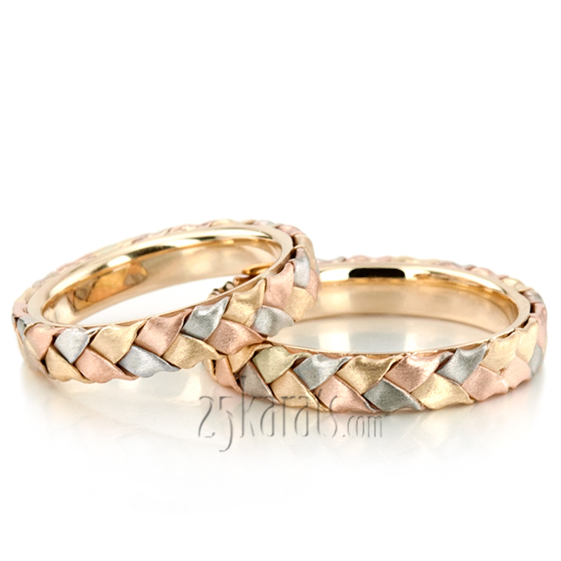 Hh hm0003 14k gold bestseller tri tone hand woven wedding for Woven wedding ring