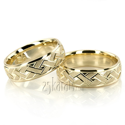 Greek Key Wedding Band Sets His And Hers Wedding Bands Matching
