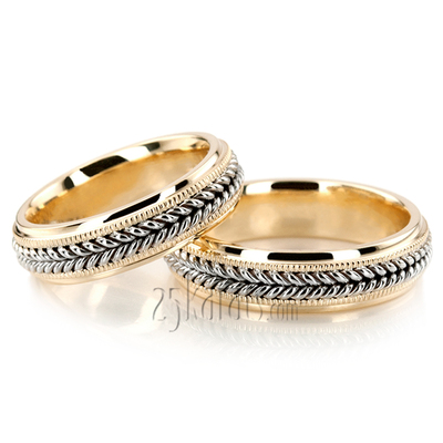 Braided Wedding Band Sets His and Hers Wedding Bands Matching