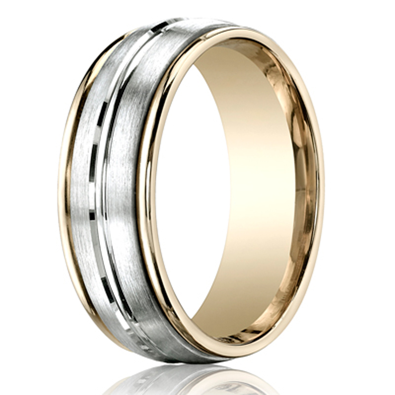 Benchmark two toned mm high polished carved band