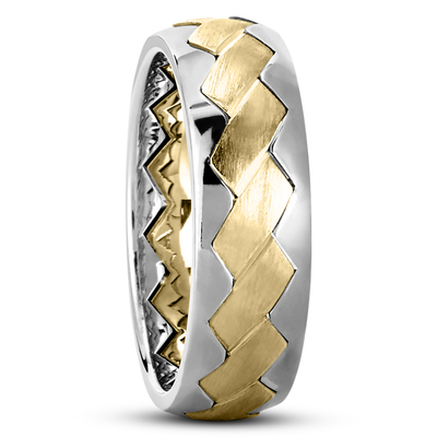 Hand Made Wedding Bands Braided Two Tone Wedding Bands Gold