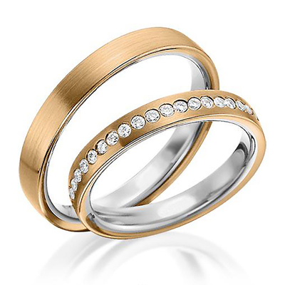 Handcrafted Two Tone Traditional Flat Comfort Fit Wedding Band With Diamonds