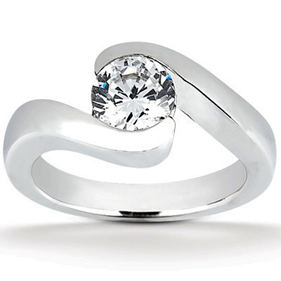 Tension Set Solitaire Diamond Engagement Ring 100 ct