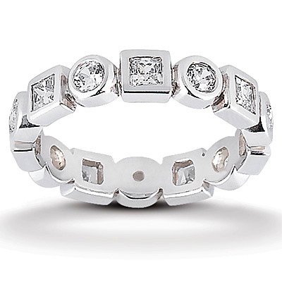 ctw wedding in white gold cut semi band bezel anniversary eternity round diamond set bands